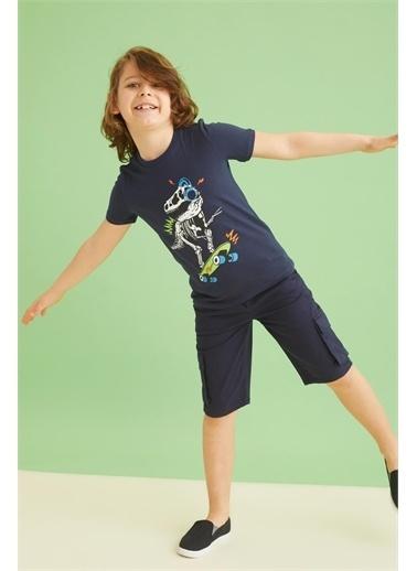 DeFacto Erkek Çocuk Dinozor Baskılı Dokunmatik Işıklı Kısa Kollu Tişört Hardal